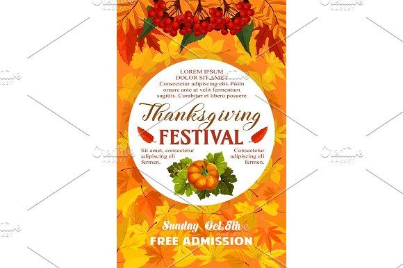 Thanksgiving Day Festival Banner Of Autumn Harvest