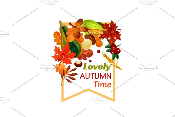 Autumn Lovely Fall Time Vector Poster