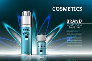 Vector blue cosmetics mockup