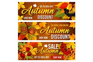 Autumn sale discount vector banners set