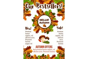 Autumn sale shopping fall vector seasonal poster