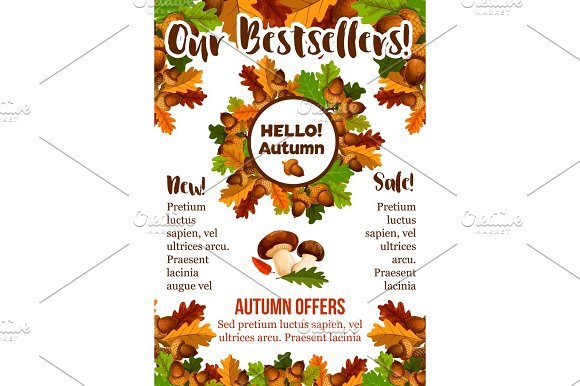 Autumn Sale Shopping Fall Vector Seasonal Poster