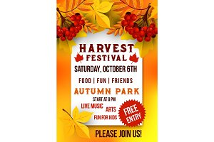 Harvest festival of autumn season poster template