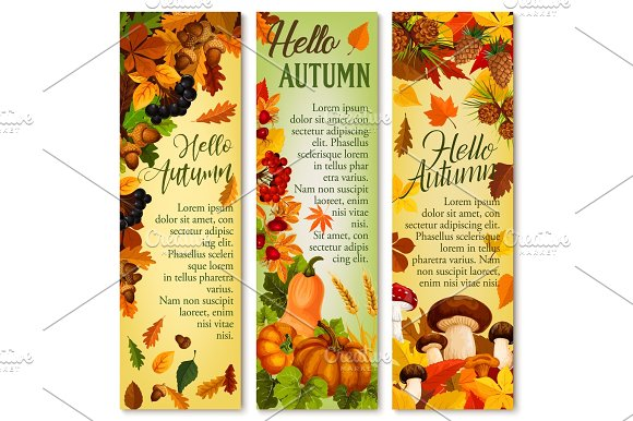 Autumn Falling Leaf September Forest Vector Banner