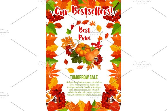 Autumn Sale Vector Pumpkin Maple Leaf Poster
