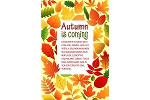 Autumn fall leaves vector poster template