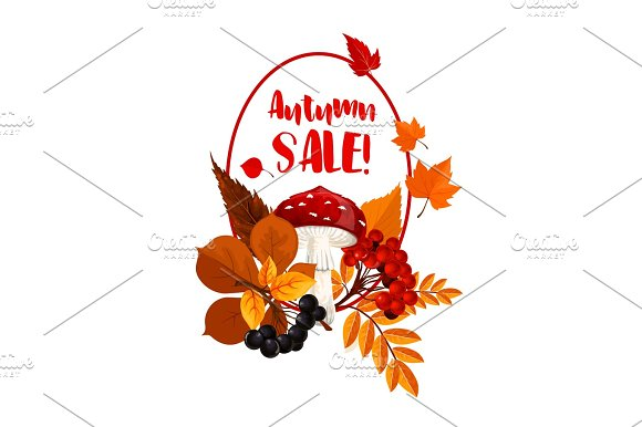 Autumn Season Sale Poster With Leaf Mushroom