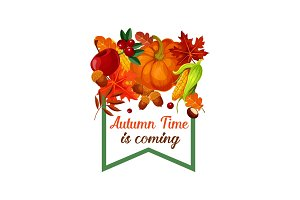 Autumn harvest vector pumpkin leaf poster