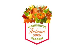 Autumn maple leaf pumpkin harvest vector poster