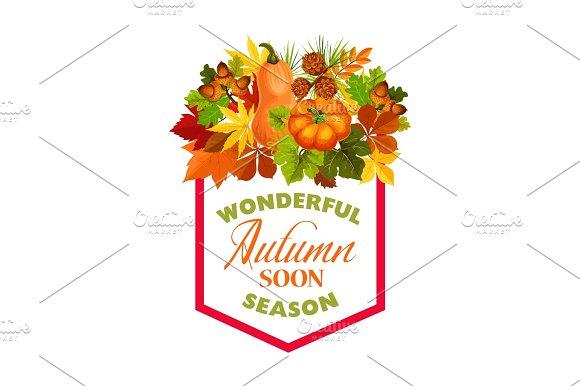 Autumn Maple Leaf Pumpkin Harvest Vector Poster