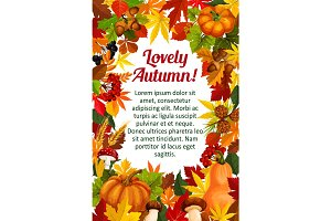 Autumn leaf poster template with fall nature frame