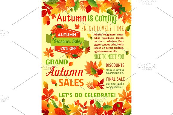 Autumn Fall Maple Leaf Vector Sale Poster Template