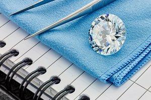 Round Diamond on Blue Cloth