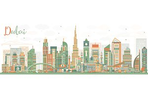 Abstract Dubai UAE Skyline