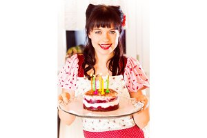 Vintage Girl With Birthday Cake