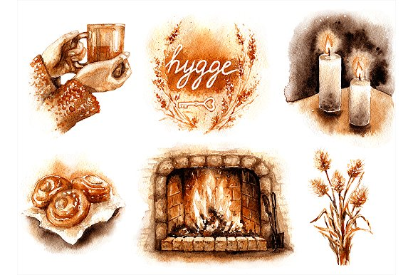 Watercolor Hygge Elements Set