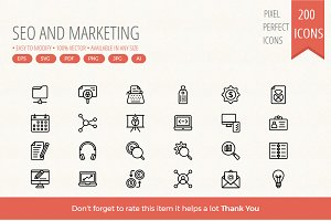 200 SEO & Marketing Line icons