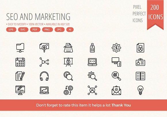 200 SEO Marketing Line Icons