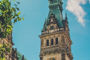 City Hall Tower. Vertical shot. Hamburg, Germany