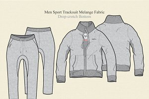 Men Sport Tracksuit Melange Fabric