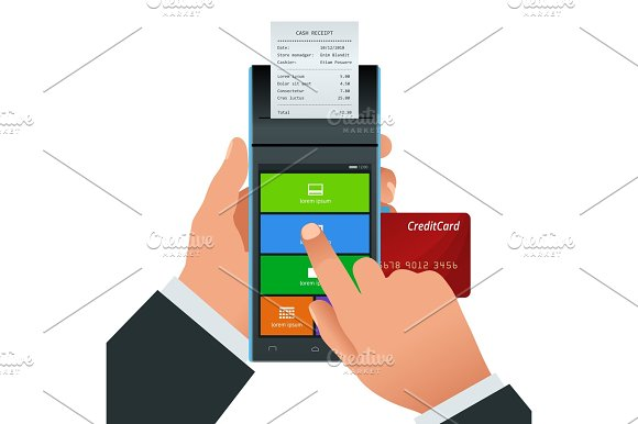 Vector Payment Machine And Credit Card POS Terminal Confirms The Payment By Debit Credit Card Invoce Vector Illustration In Flat Design NFC Payments Concept
