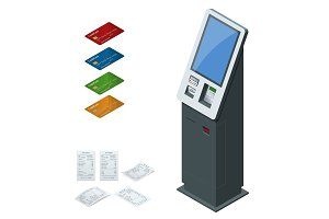 Isometric set vector online payment systems and self-service payments terminals, debit credit card and cash receipt. NFC payments, Payment terminal, Digital touch screen, interactive kiosk concept