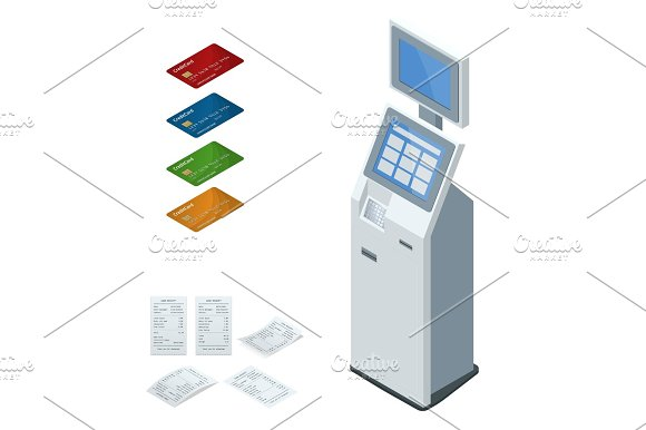 Isometric Set Vector Online Payment Systems And Self-service Payments Terminals Debit Credit Card And Cash Receipt NFC Payments Payment Terminal Digital Touch Screen Interactive Kiosk Concept