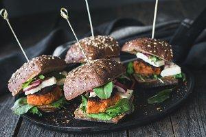 Vegetarian burger sliders