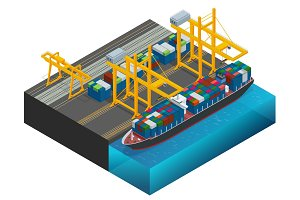Isometric Cargo containers transshipped between transport vehicles for onward transportation Port warehouse and shipment for infographic Platform supply vessel Logistic support goods tools equipment