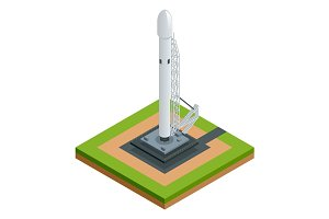 Isometric vector space rocket isolated on white the two-stage-to-orbit rocket spaceship on starting platform