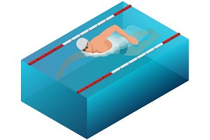 Sportsman swim line race indoor interior infographics. Flat isometric male swimmer vector illustration