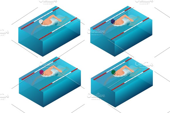 Sportsman Swim Line Race Indoor Interior Infographics Flat Isometric Male Swimmer Vector Illustration