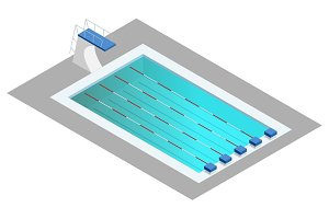 Realistic isometric sport pool. Perspective design used for infographics, banner, poster or card creation.