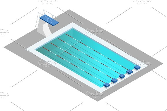 Realistic Isometric Sport Pool Perspective Design Used For Infographics Banner Poster Or Card Creation