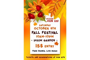 Fall festival of autumn harvest banner template