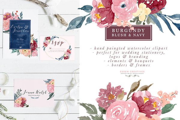 Burgundy Blush Navy Flowers Clipart