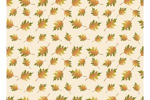 Autumn leaves illustration. Vector seamless pattern. Endless background