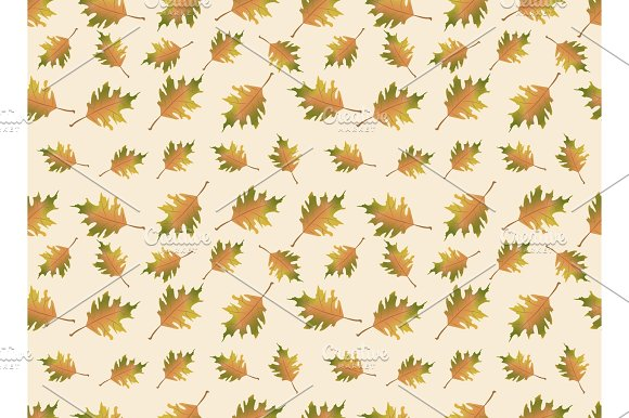 Autumn Leaves Illustration Vector Seamless Pattern Endless Background