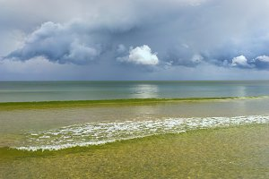 The horizon of the Baltic with clouds