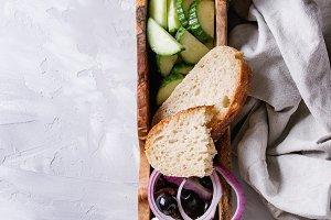 Ingredients for greek salad