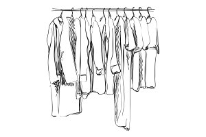 Hand drawn wardrobe sketch. Clothes.