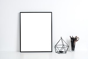 white office interior, poster mockup