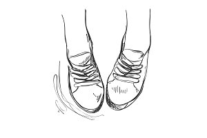 Hand drawn sneakers, casual shoes.