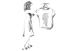 Hand drawn wardrobe sketch. Girl in the showroom