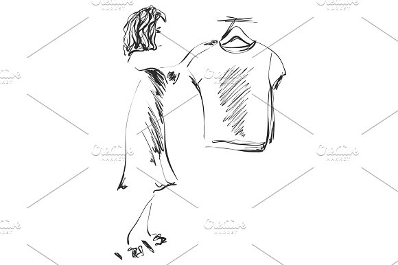 Hand Drawn Wardrobe Sketch Girl In The Showroom