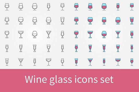 Wine Glass Icons Set