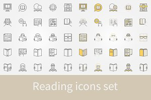 Reading icons vector set