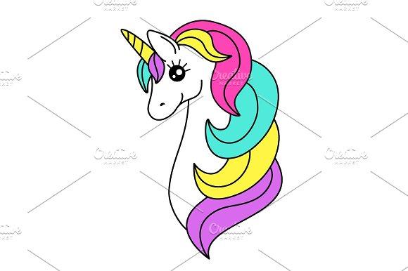 Cute Childish Cartoon Character As Magic Rainbow Hair Unicorn