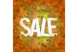 Autumn sale design concept with a lot of leaves and text title.