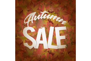 Autumn sale design concept with a lot of fallen leaves and text title